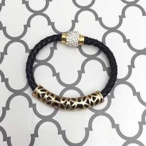 Jewelry - 🆕 Black Braided Leather & Gold Bracelet